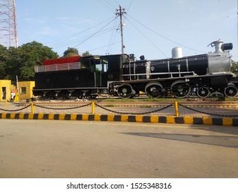 A Vintage Steam Engine of british railways time placed outside Karachi Cantonment Railway Station - Karachi Pakistan - oct 2019