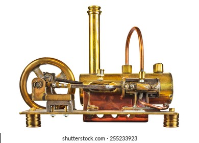 Vintage steam engine isolated on a white background