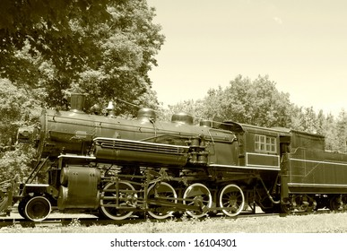 vintage Steam engine in sepia