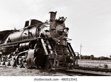 Vintage Steam powered railway engine. Copy space