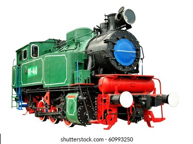 Vintage steam train 1935-1957. Green, red, black isolated over white background