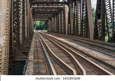 Vintage steel train trestle in rural area