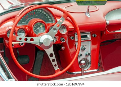 Vintage steering wheel of a classic old-timer