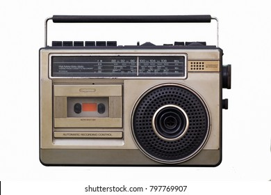 Vintage stereo in the 90s on white background. Include clipping path.