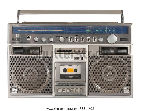 Vintage Stereo Radio Cassette Recorder or Boombox isolated over white background