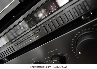 Vintage stereo system close up, amplifier and equalizer