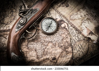 vintage still life with compass and old map. map of the 1570. Author: Abraham Ortelius (1527-1598)