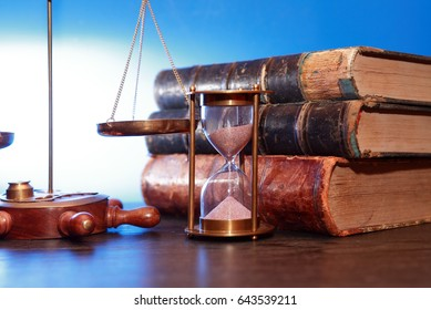 Vintage still life with old objects against blue background