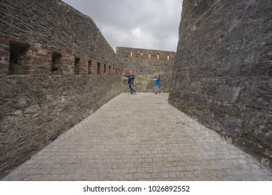 vintage stone walls at Athlone castle, Athlone, Co. Westmeath, Ireland, taken on July 11th, 2017.