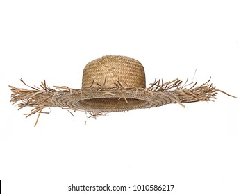 Vintage straw beach hat hat, isolated on white background.  Straight front view. Tilted up a little, showing the interior.