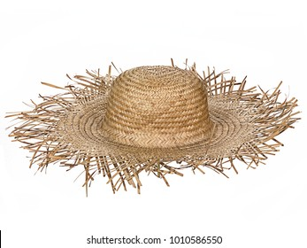 Vintage straw beach hat hat, isolated on white background.  Top/side view.