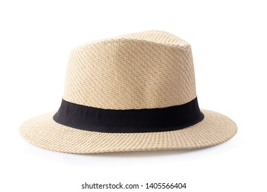 Vintage Straw hat with black ribbon for man isolated on white background.