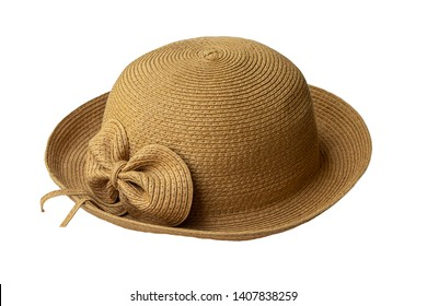 Vintage Straw hat fashion for woman isolated on white background