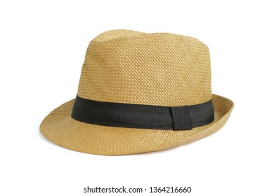 Vintage Straw hat fasion with black ribbon for man isolated on white background. This has clipping path