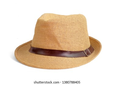 Vintage Straw hat fasion with brown ribbon for man isolated on white background. This has clipping path
