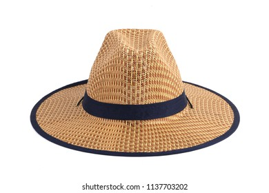 Vintage Straw hat fasion for man isolated on white background.