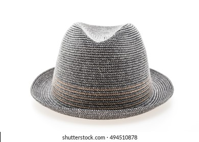 Vintage Straw hat fasion for man isolated on white background