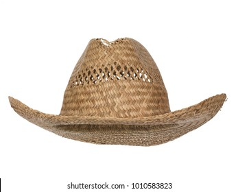 Vintage straw latin american cowboy hat, partly open woven, isolated on white background.  Straight front view. Tilted up a little, showing the interior.