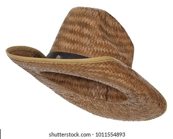 Vintage straw latin american cowboy hat, isolated on white background. Almost straight side view. Tilted up a little, showing the interior.