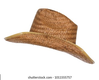 Vintage straw latin american cowboy hat, isolated on white background. Side view.