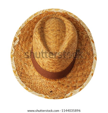 0594310229d3a Vintage straw latin american cowboy hat isolated on white background. Straight  front view. Tilted