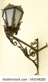 vintage street lamp with forged elements close up