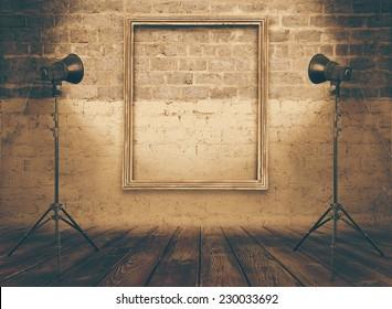vintage studio room, background with retro photo frame, retro filtered, instagram style