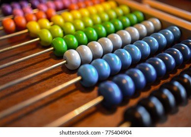 Vintage style abacus colorful on grunge wooden background