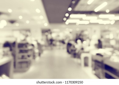 Vintage style Abstract motion blurred in shopping mall.