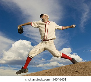 Vintage style baseball pitcher throws ball. Square shot.