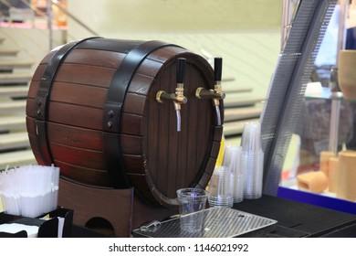 Vintage style. Beer craft. Bar table. Steel taps