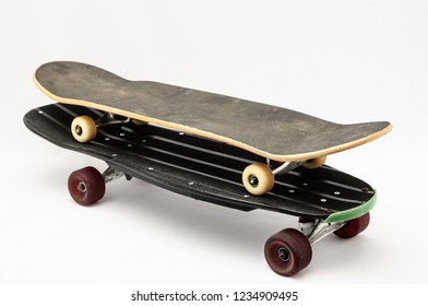 Vintage Style Black Skateboard on a white Background