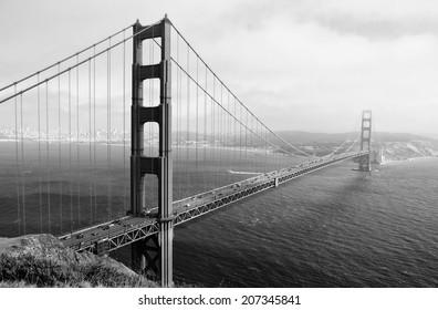 Vintage style black and white image of the Golden Gate Bridge, San Francisco, California, USA.