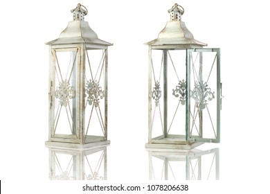 Vintage style candle lantern with open door and reflection isolated on white background