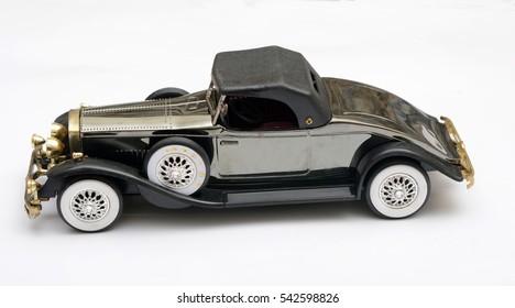 Vintage Style Car close up on white background