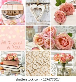 vintage style collage with roses and love symbols for Valentines or weddings