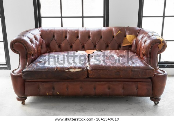 Vintage Style Defective Old Leather Sofa Stock Photo (Edit ...