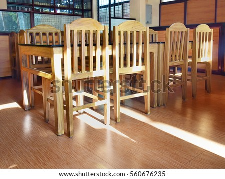 vintage style dining table chairs wooden stock photo edit now rh shutterstock com