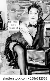 Vintage style fashioned woman burlesque in black and white