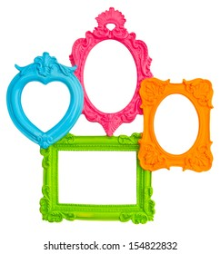 vintage style framework isolated on white background. multicolor frames for photo and picture. shabby chic