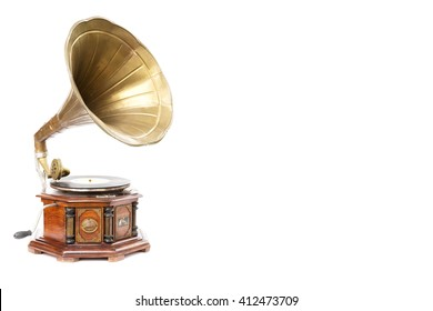Vintage style gramophone, vinyl music player with white background