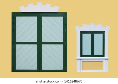Vintage style of green and soft green wooden door and window : isolated on yellow background(with clipping path)