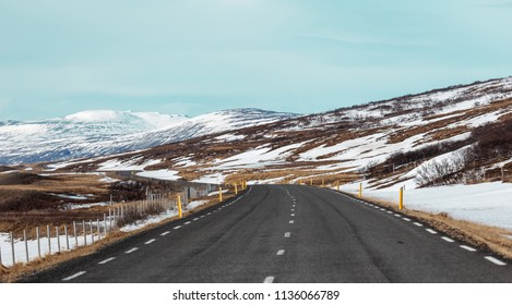 Vintage style Iceland road trip landscape in winter travel concept
