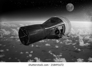 """""""Vintage Style image"""" - Gemini space capsule orbiting earth circa early 1960's. - Artist's Recreation"""