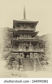 Vintage style image of the pagoda of Seigantoji and Nachi no Taki waterfall, in Nacho, Wakayama Prefecture, Japan