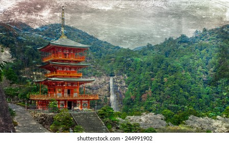 Vintage style image of the pagoda of Seigantoji and Nachi no Taki waterfall, in Nacho, Wakayama Prefecture, Japan