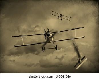 第一次世界大戦の戦闘機に犬の戦いを持つビンテージスタイルの画像。一機の飛行機が撃ち落とされた。(アーティストの印象)
