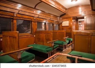 Vintage style Interior Inside Japanese train.