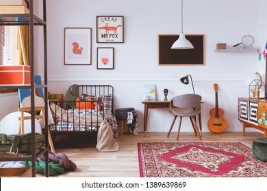 Vintage style kids bedroom with designer furniture