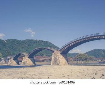 Vintage style: Kintai Kyo Bridge in Iwakuni, Hiroshima, Japan